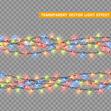 Garlands, Christmas decorations lights effects. Royalty Free Stock Images