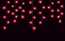 Garlands, Christmas decorations lights effects.  vector design elements. Glowing lights for Xmas Holiday greeting card Royalty Free Stock Photography