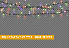 Garlands, Christmas decorations lights effects. vector illustration