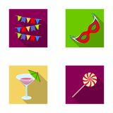 Garlands, cocktail and other accessories at the party.Party and partits set collection icons in flat style vector symbol Stock Photo