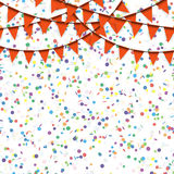 Garlands and confetti background Stock Images
