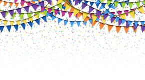 Garlands and confetti background Stock Photo