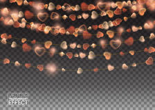 Garlands decoration Lights  Realistic Design Elements. Stock Images