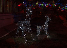 Garlands of deer in the night city Royalty Free Stock Photo