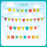 Garlands Of Festive Flags  Against The Bright Sky. Vector Holiday Clip Art. Festive Flags. Royalty Free Stock Images