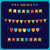 Garlands Of Festive Flags  On Dark Background. Vector Holiday Clip Art. Royalty Free Stock Photography