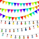 Garlands of flags and colored lamps. Decorations isolated on whi Royalty Free Stock Photos