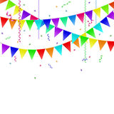 Garlands with flags, streamers and confetti. Stock Images