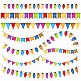 Garlands and flags on white background. Vector Royalty Free Stock Photos