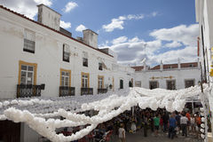 Garlands in the Flower festival of Campo Maior, Portugal. CAMPO MAIOR, PORTUGAL -23 AUGUST 2015: Flower festival in Campo Maior with hundred of visitors walking Royalty Free Stock Photography