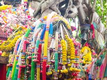 Garlands of flowers, offerings to God. Stock Photos