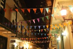 Garlands in casco antiguo, Panama. Colorful Garland flags in central Panama City, Panama Stock Photo
