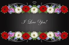 Garlands of gerberas, periwinkle and phlox with the greeting I love you on striped black background. Garlands of red and white gerberas,purple periwinkle and Royalty Free Stock Photography
