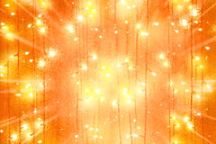 Garlands lights and scattering from center rays. Abstract new year garlands bulb lights and scattering from center rays background Stock Image