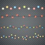 garlands Luzes de incandescência conduzidas Natal em cores diferentes ilustração royalty free