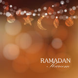 Garlands with moon, stars, lights, Ramadan  illustration Stock Photo