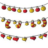 Garlands for new year photo with hearts. digital art