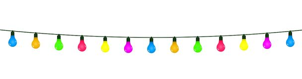 Garlands with pennants and bulbs of different colors stock illustration