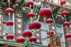 Garlands of red Chinese lanterns Royalty Free Stock Images
