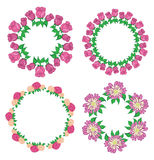 Garlands of roses and gerberas - vector flower set Stock Image