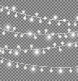 Garlands with Round Bulbs on Dark Background. Garlands with round bulbs on dark transparent background. Christmas lights design elements with black ropes and vector illustration