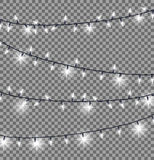Garlands with Round Bulbs on Dark Background. Garlands with round bulbs on dark transparent background. Christmas lights design elements with black ropes and Stock Image
