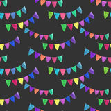 Garlands. Seamless pattern with flags. Hand-drawn background. Vector illustration. Real watercolor drawing Stock Photo