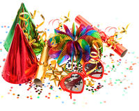 Garlands, streamer, cracker, party glasses and confetti. Colorful decoration with garlands, streamer, cracker, party glasses and confetti. festive accessory Stock Photos