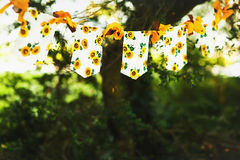 Garlands of sunflowers image to a folder on a background of gree Royalty Free Stock Photography