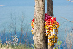 Garlands on a tree near dam as background Stock Photography