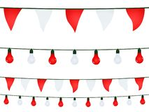Garlands with white red pennants and light bulbs on black background. Garlands with white red pennants and light bulbs on a black background stock illustration