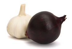Garlic. S and onion over a white background Stock Photo