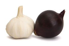 Garlic. S and onion over a white background Royalty Free Stock Photos