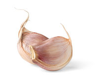 Isolated garlic. Two cloves of garlic isolated on white background stock photos
