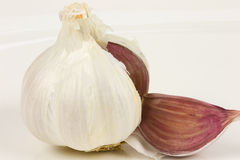 Garlic. Isolated on a white background Stock Photography