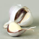 Garlic. Clove, with bulb behind. Soft focus stock image