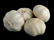 Garlic. Four large pieces of Garlic isolated on black stock photo