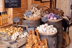 Garlic. Fresh harvest garlic in wicker baskets Stock Image