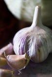 Garlic. Photo of garlic on plastic board Stock Images