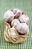 Garlic. Fresh garlic in the basket Stock Photos