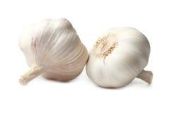 Garlic. Two of garlic isolated on white stock photos