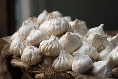 Garlic. Bulbs of fresh garlic close-up royalty free stock image