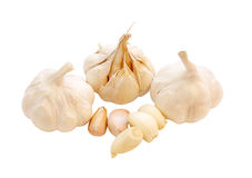 Garlic. Group of garlics isolated on white background Royalty Free Stock Images