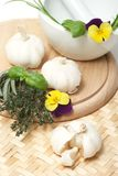 Garlic. Table of garlic for better cooking royalty free stock image