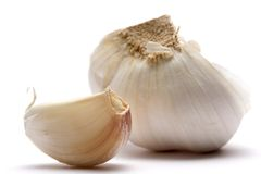 Garlic. Closeup of garlic isolated on white stock photography