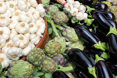 Garlic, artichokes and aubergines Royalty Free Stock Photo