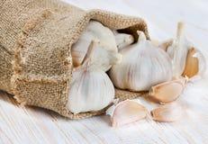 Garlic in a bag Stock Photo