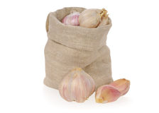 Garlic in bag Royalty Free Stock Images