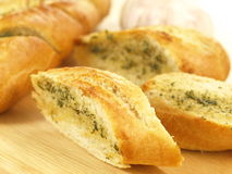 Garlic baguette, close up Royalty Free Stock Photography