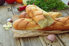 Garlic baguette Stock Photography